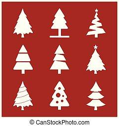 Christmas set of trees vector