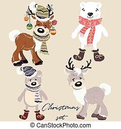 Christmas set of vector cartoon animals bears and deers