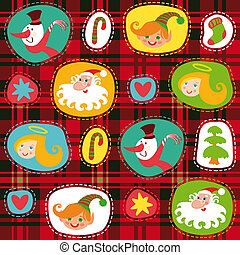 Christmas set, plaid tartan pattern background, wrapping...