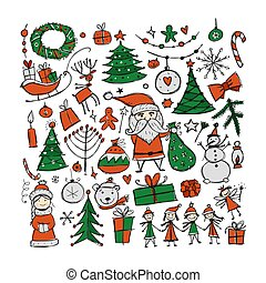 Christmas set, sketch for your design