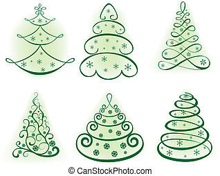 Christmas set tree. Elements for design