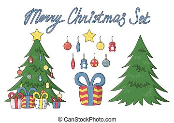 Christmas set, tree with presents, toys and greeting. Vector illustration in cute cartoon style