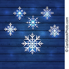 Christmas set variation snowflakes on wooden background -...