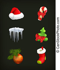 Christmas set, vector on black