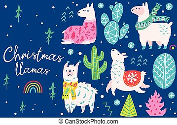Christmas set with llamas wearing in sweater, hat and scarf