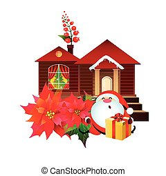 Christmas set with poinsettia , Santa,and house ,isolated on...