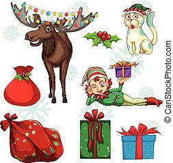 Christmas set with reindeer and presents illustration