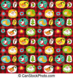 Christmas set, wrapping paper, plaid tartan