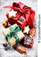 Christmas setting with colorful presents