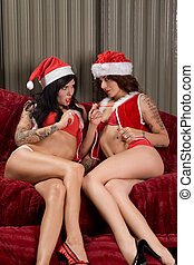 Christmas sexual games of young lesbian lovers - Two sexy...
