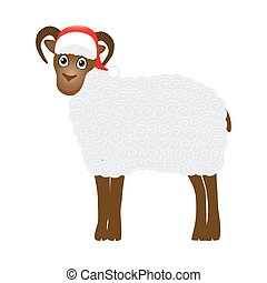 Christmas sheep on white background