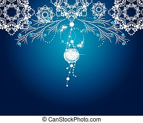 Christmas shining decoration on the blue background