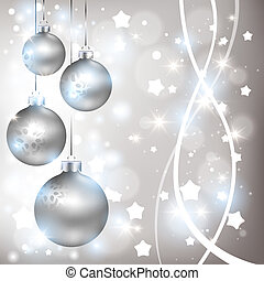 Christmas shiny silver background with balls - Merry...