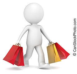 Christmas Shopping. - 3D little human character carrying ...