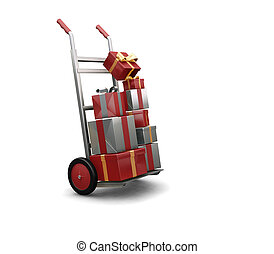 Christmas shopping - 3D render of a hand truck full of...