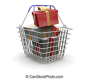 3D render of a shopping basket full of Christmas presents