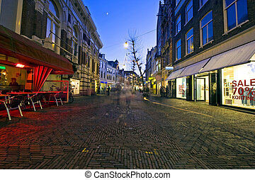 Christmas shopping - A shopping street with christmas ...