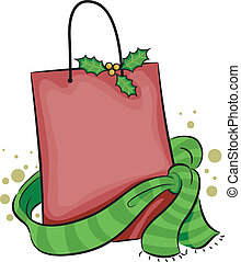 Christmas Shopping Bag - Illustration of a Shopping Bag with...
