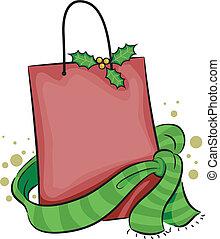 Christmas Shopping Bag - Illustration of a Shopping Bag with...