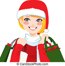 Christmas Shopping Blonde - Beautiful blonde woman happy...