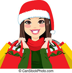 Christmas Shopping Brunette - Pretty brunette woman happy...
