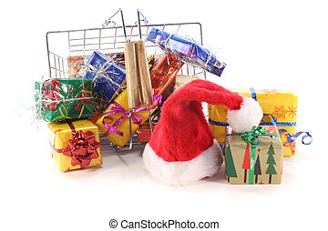 Christmas gifts in the shopping basket with Santa Hat