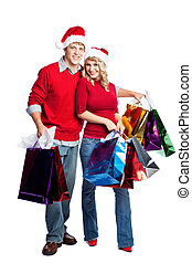 Christmas shopping couple