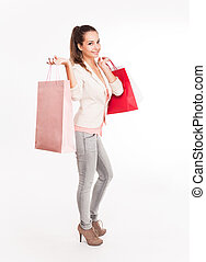 Christmas shopping cutie. - Portrait of a very attractive ...