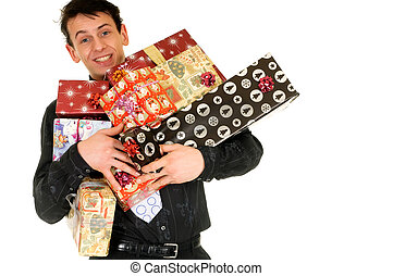Christmas shopping - Handsome man doing christmas shopping. ...