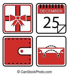Christmas shopping icons set