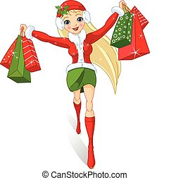 Christmas shopping. Illustration of a girl with shopping ...