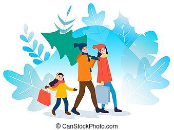 Christmas Shopping of Family Holidays Preparation