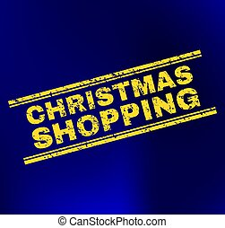 CHRISTMAS SHOPPING Scratched Stamp Seal on Gradient Background