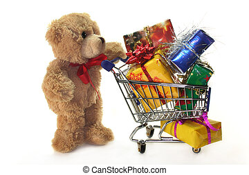 Teddy Laden shopping teddy with shopping cart laden with stock