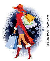 Christmas shopping - Winter background and a girl with...