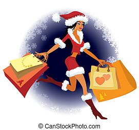 Christmas shopping - Winter background and a girl with ...