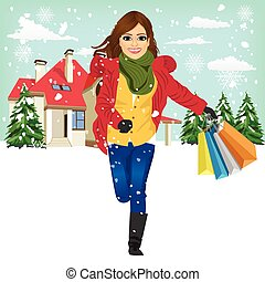 shopping woman with gift bag running joyful