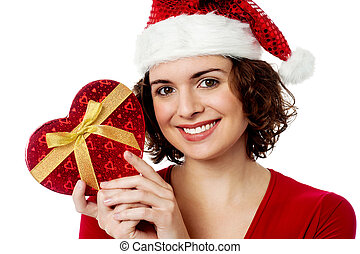 Christmas shopping, woman with gift.