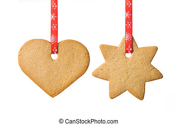home baked shortbread cookies on white with red ribbon