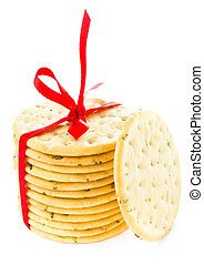 Christmas shortbread wrapped with red ribbon pastry cookies iso