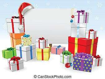 Christmas sign and gifts concept