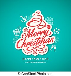 christmas sign design on green background vector...
