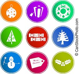 Christmas sign icons - collection of diverse Christmas sign...