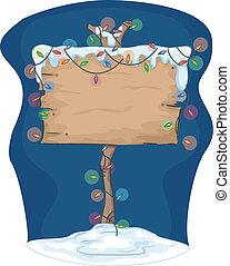 Christmas Sign - Illustration Featuring a Signboard...