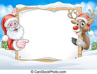 Christmas Sign Reindeer and Santa Background