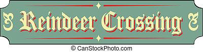 Christmas Sign Reindeer Crossing - Christmas sign, border,...