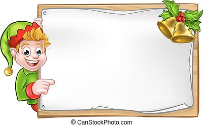 Christmas Sign Santa Helper Elf - Christmas elf cartoon...