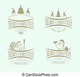 Christmas sign with a silhouette of Santa Claus and reindeer set