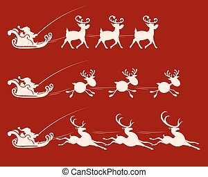 Christmas sign with Santa Claus on a reindeer harness, set
