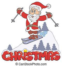 Christmas sign with skiing Santa - vector illustration.